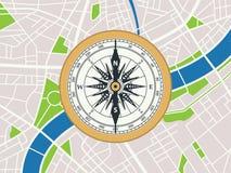 在城市地图的铜Ð ¡ ompass  平的旅行等量艺术 库存照片