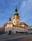 在城市城堡的日落在Banska Bystrica 库存照片