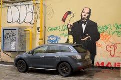 在城市墙壁上的绘画 免版税图库摄影