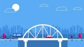 在城市天空刮板背景的一座桥梁 红色减速火箭的样式汽车 向量 蓝色和红颜色计划 免版税库存图片