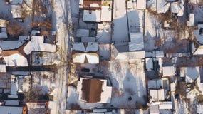 在城市屋顶露台的鸟瞰图有雪的 图库摄影