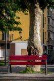 在城市布局的红色公园长椅 库存照片