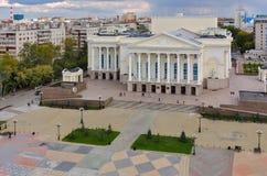 在城市戏曲剧院的鸟瞰图 秋明州 俄国 库存图片