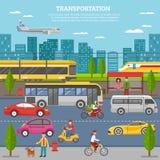 在城市海报的运输 向量例证