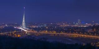 在城市的冬天有雾的夜 库存照片