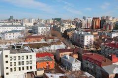 在城市的历史的中心的顶视图 喀山俄国 免版税库存图片