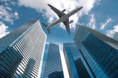 在城市的喷气机 库存图片