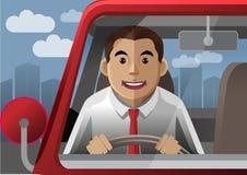 在城市的微笑司机 免版税库存图片