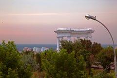 在城市的日出,早晨文化,建筑学风景纪念碑  免版税库存照片