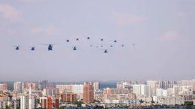 在城市的直升机游行的 影视素材