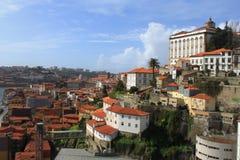 在城市的看法从上面在波尔图,葡萄牙 免版税库存照片