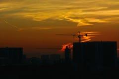 在城市的红色skyes 库存图片