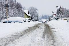 在城市的雪灾难 图库摄影