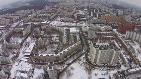 在城市的飞行在冬天 影视素材