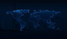 在城市背景,这个图象的元素的浅兰的世界地图 免版税库存照片