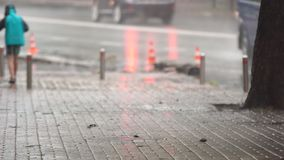 在城市街道上的大雨 股票录像