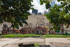 在城市街道上的街道画  库存照片