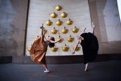 在城市街道上的跳芭蕾舞者 免版税库存图片