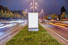 在城市街道的广告牌 图库摄影