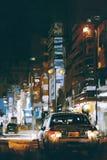 在城市街道的汽车在与五颜六色的光的晚上 库存照片