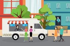 在城市街道,步行者上的食物卡车走 向量例证