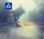 在城市道路的秋天雾 图库摄影