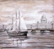 在城市附近的帆船 免版税库存图片