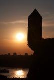 在城市1上的日落 免版税库存照片