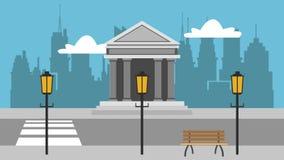 在城市HD动画的银行 向量例证