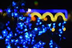 在城市kko的夜光在晚上 免版税库存图片