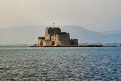 在城市Nafplion附近的堡垒在希腊 免版税图库摄影