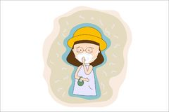 在城市PM 2女服面具N95防止空气污染 5在尘土米 例如尘土,烟和气味概念平的样式 库存例证