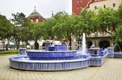 在城镇厅前面的喷泉在苏博蒂察 塞尔维亚 库存照片