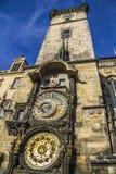 在城镇厅,布拉格的天文学时钟 库存照片