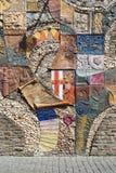在城镇墙壁的有历史的马赛克在Cochem 免版税库存照片