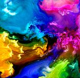 在培养皿的可变的艺术 五颜六色的酒精,墨水,在培养皿的居住的五颜六色的细菌 库存图片