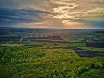 在培养领域的飞行在春天在日落的 免版税库存图片