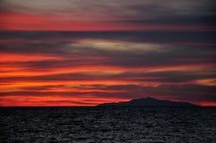 在基度山海岛,托斯卡纳意大利上的日落 图库摄影