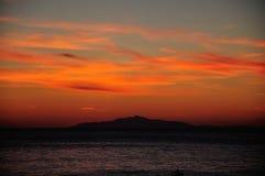 在基度山海岛,托斯卡纳意大利上的日落 库存照片