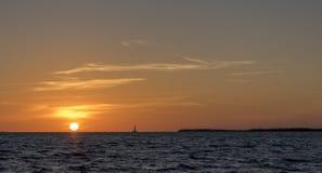 在基拉戈,佛罗里达的美好的日落 免版税图库摄影
