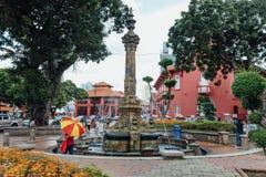 在基督教会的喷泉是18世纪英国国教的教堂在市马六甲,马来西亚 免版税库存照片