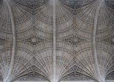 在基督的学院教堂,剑桥,英国天花板的爱好者带子  库存照片