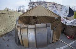 在基辅街道上的军营。 免版税库存照片