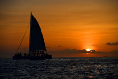 在基韦斯特岛的著名日落, FL 免版税库存图片