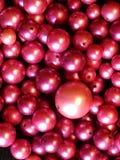 在堆堆积的藏匿处洋红色珠母般的小珠 免版税库存照片