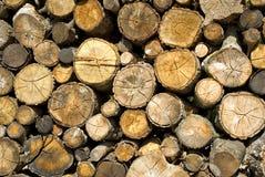 在堆放置的干燥木柴 库存图片