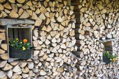 在堆木材的棚的花盆 库存照片