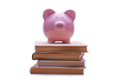在堆的上面安置的存钱罐书 免版税库存照片