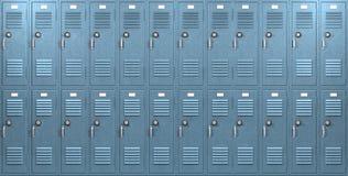 蓝色学校衣物柜前面 免版税图库摄影