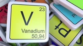 在堆的钒块化学元素块的周期表 化学相关3D翻译 免版税库存图片